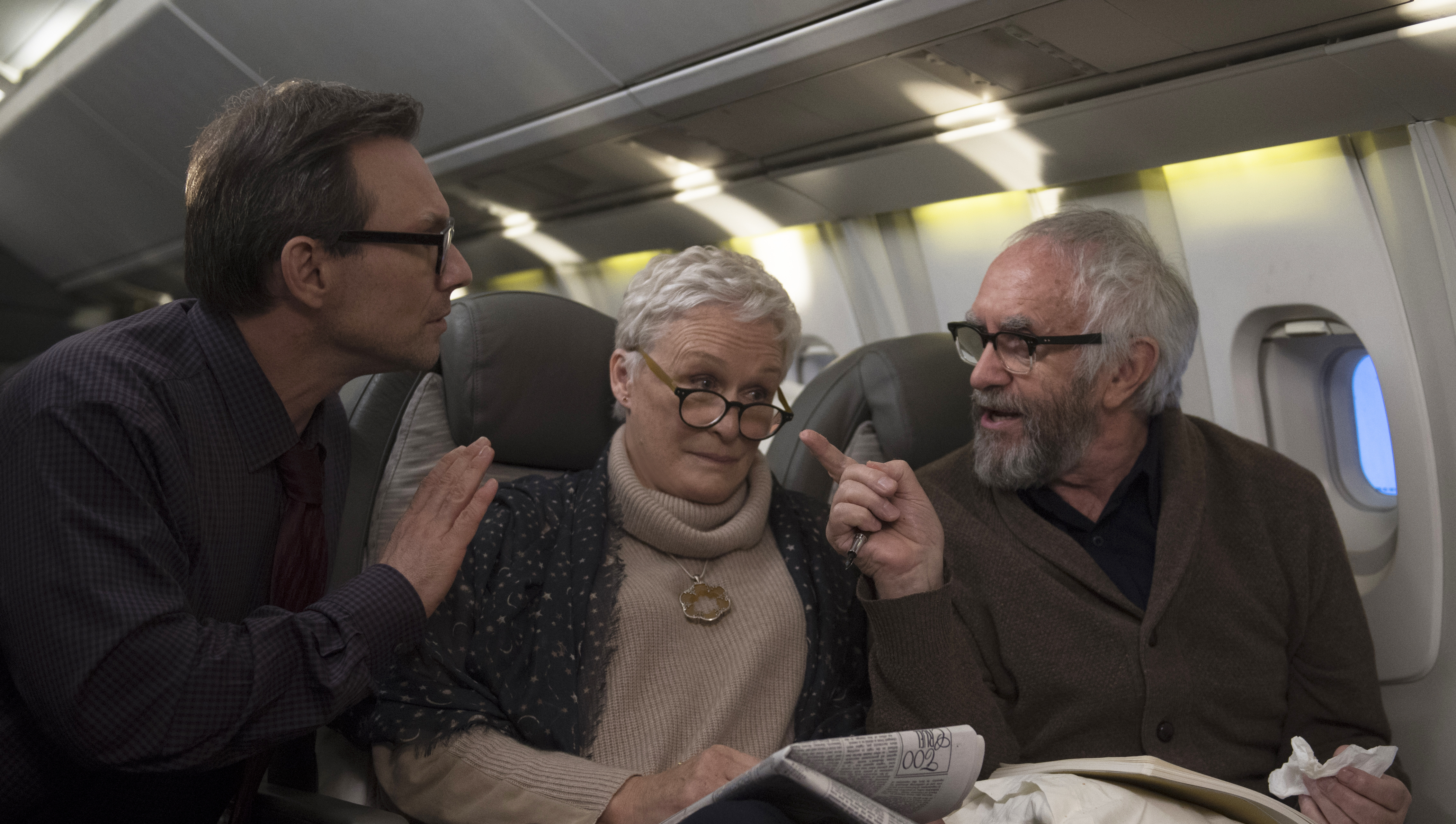 Left to right: Christian Slater as Nathaniel, Glenn Close as Joan and Jonathan Pryce as Joe in The Wife.